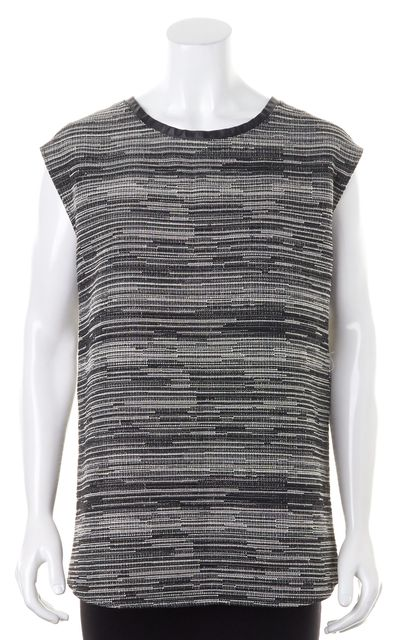 HELMUT LANG Black White Textured Boucle Leather Trim Tunic Top