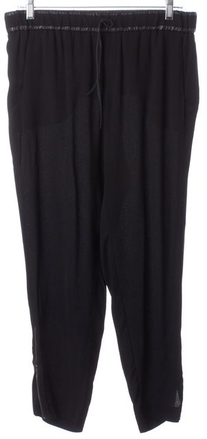 HELMUT LANG Black Leather Trim Ankle Zip Drawstring Casual Pants
