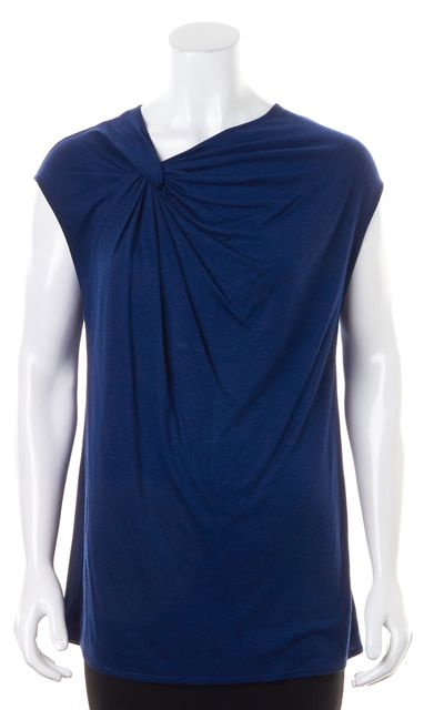 HELMUT LANG Dark Blue Jersey Twisted Neck Sleeveless Blouse