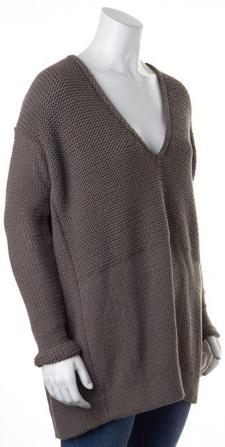 HELMUT LANG Brown Cotton Chunky Knit Long Sleeve V-Neck Oversized Sweater