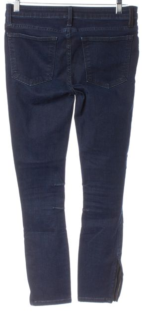 HELMUT LANG Blue Stretch Cotton Ankle Zip Mid-Rise Skinny Jeans
