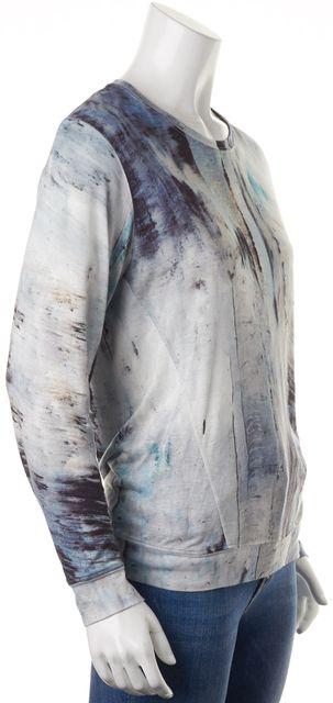 HELMUT LANG Blue Abstract Paint Splatter Long Sleeve T-Shirt
