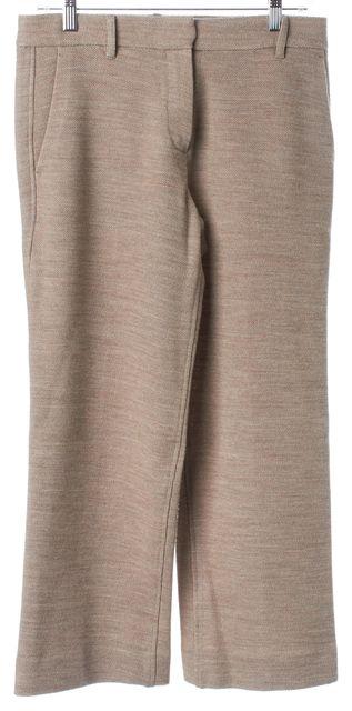 HELMUT LANG Beige Honeycomb Knit Wool Cropped Trouser Dress Pants