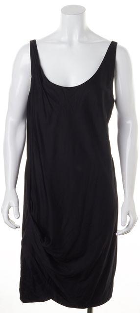 HELMUT LANG Solid Black Side Ruched Sleeveless Sheath Dress