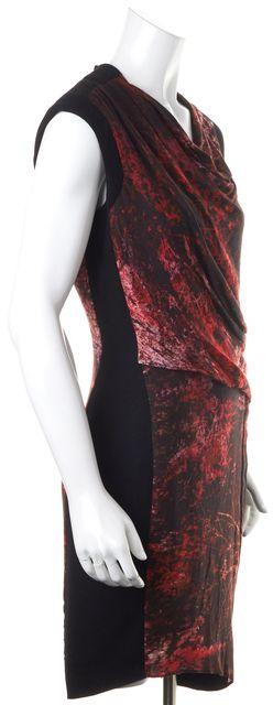 HELMUT LANG Black Red Abstract Cap Sleeve Sheath Dress