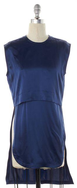 HELMUT LANG Blue Satin Silk Layered Sleeveless Lyrd Top
