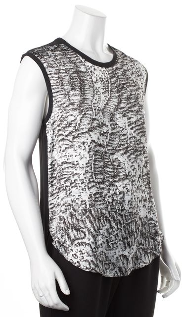 HELMUT LANG Black White Abstract Printed Sleeveless Blouse Top