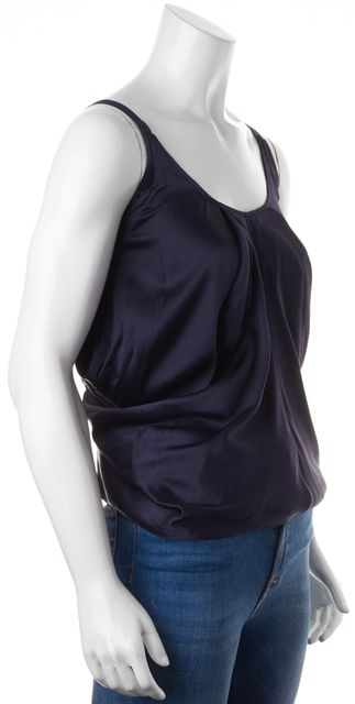 HELMUT LANG Navy Silk Draped Scoop Neck Tank Top