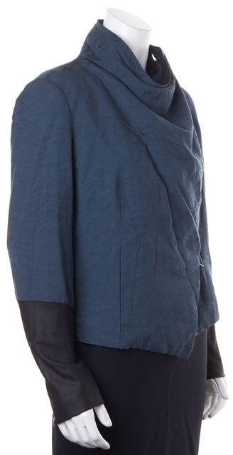 HELMUT LANG Dark Teal Green Leather Trim Draped Jacket