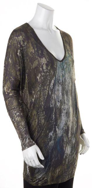 HELMUT LANG Green Gray Abstract Modal Long Sleeve V-Neck T-Shirt