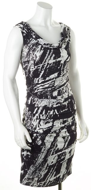 HELMUT LANG Black White Abstract Sleeveless Ruched Sheath Dress