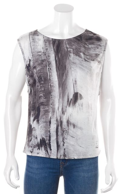 HELMUT LANG Gray White Abstract Print Tank Top