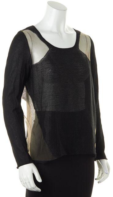 HELMUT LANG Black Sheer Transparent Grid Knit Top