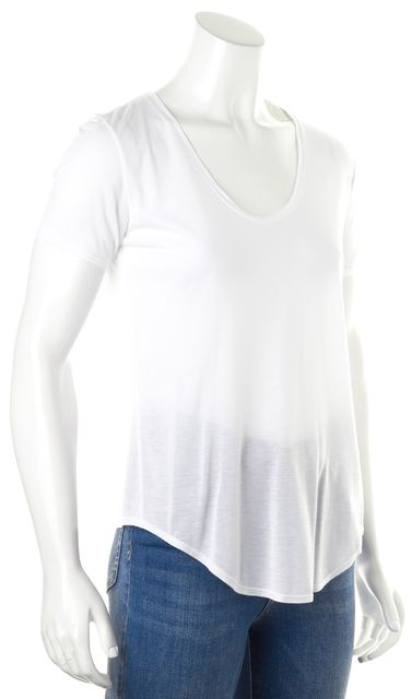 HELMUT LANG Solid White Sheer Short Sleeve Scoop Neck Casual Top