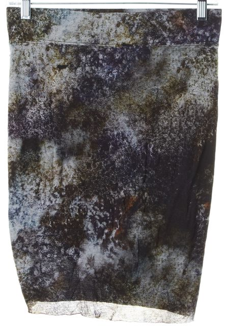 HELMUT LANG Multi-Color Abstract Modal Draped Stretch Knit Skirt