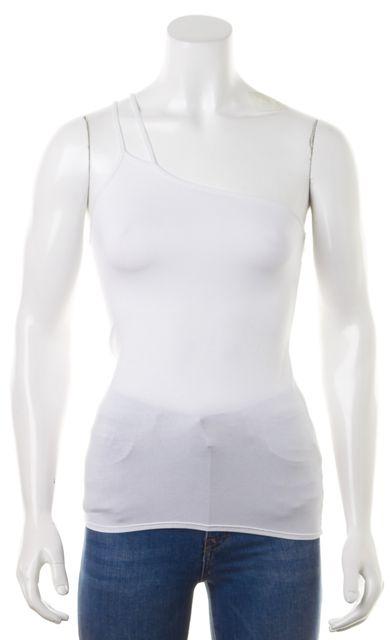 HELMUT LANG White One Shoulder Stretch Halter Cami Top