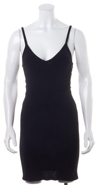HELMUT LANG Dark Navy Blue Open Knit Back Stretch Dress