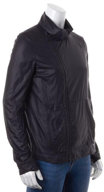 HELMUT LANG Black Asymmetrical Zip Front Windbreaker Jacket