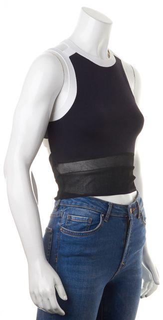 HELMUT LANG Dark Navy Blue Black White Color-Block Knit Crop Top