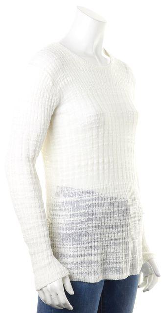 HELMUT LANG Ivory Sheer Gauze Crewneck Sweater