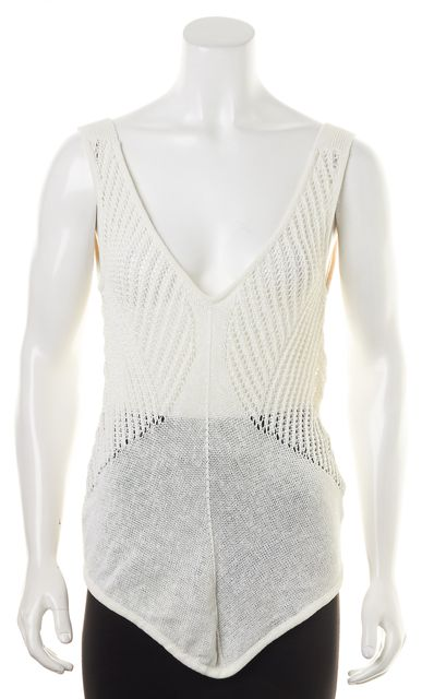 HELMUT LANG White Sheer Linen Open Knit Tank Top