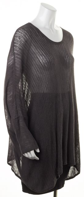 HELMUT LANG Gray Sheer Open Knit Oversized Dolman Sleeves Tunic Top