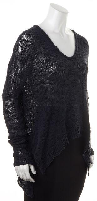 HELMUT LANG Dark Navy Blue Silk Textured Knit Long Sleeves V-Neck Top