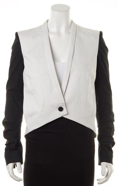HELMUT LANG White Black Colorblock Long Sleeve Blazer Jacket