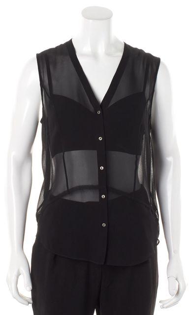HELMUT LANG Black Silk Sheer Button Front Sleeveless Blouse