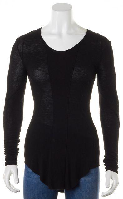 HELMUT LANG Black Jersey Long Sleeve Scoop Neck Tee T-Shirt Top