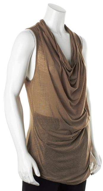 HELMUT LANG Brown Jersey Sleeveless Draped Front Blouse Top