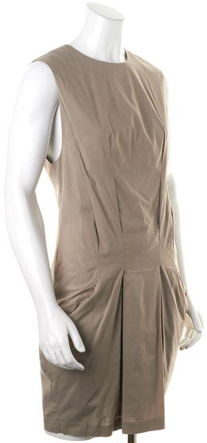 HELMUT LANG Beige Sleeveless Pocket Front Sheath Dress