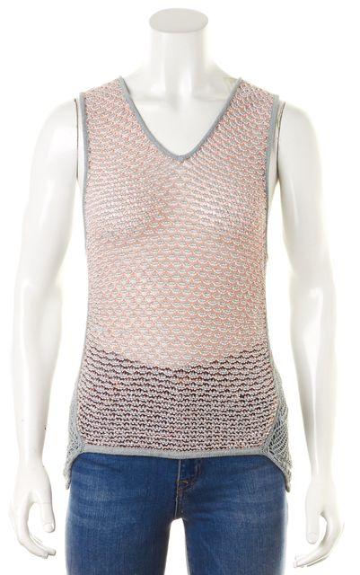 HELMUT LANG Gray Orange Marled Sleeveless Semi Sheer Open Knit Top