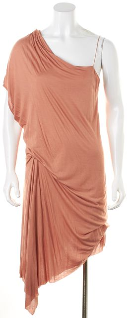 HELMUT LANG Dusty Tan Pink Modal One Shoulder Asymmetrical Dress
