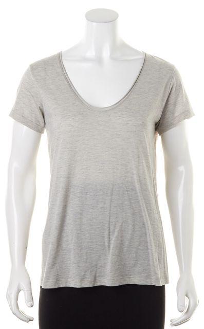 HELMUT LANG Heather Gray Cotton Short Sleeve Basic T-Shirt