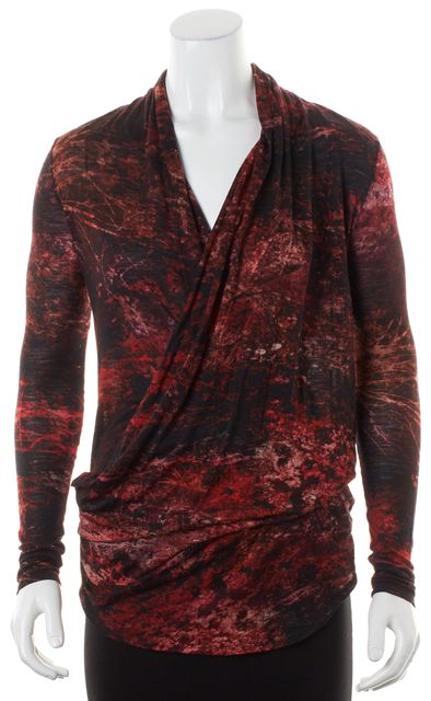HELMUT LANG Red Black Abstract Wool Wrap Effect Knit Top