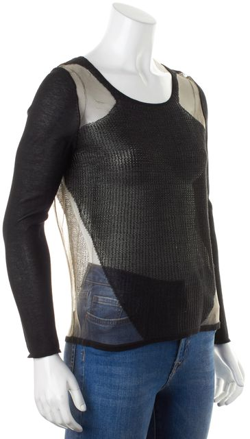 HELMUT LANG Black Sheer Mesh Combo Long Sleeve Knit Top