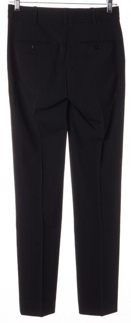 HELMUT LANG Black Wool Exposed Stitch Slim Straight Leg Trousers Pants
