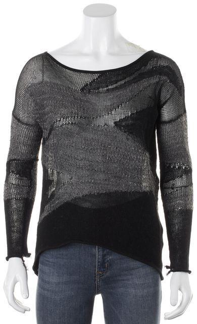 HELMUT LANG Black Gray Silk Wool Alpaca Long Sleeve Sheer Open Knit Top