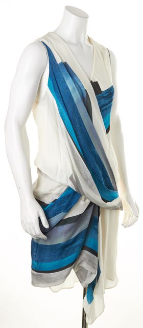 HELMUT LANG White Blue Abstract Print Sleeveless Blouson Dress