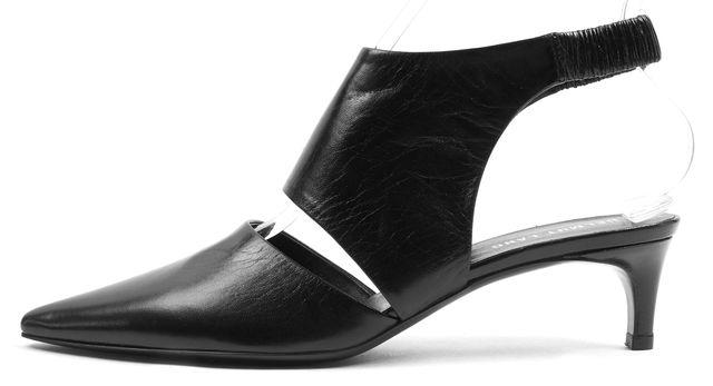 HELMUT LANG Black Leather Slingback Pointed Pump Heels