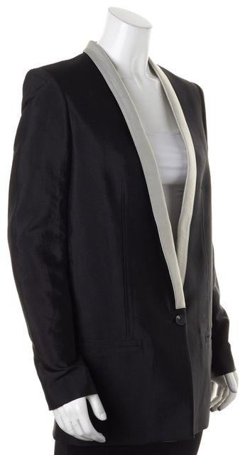 HELMUT LANG Black Gray Trim One Button Blazer Jacket