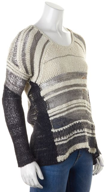 HELMUT LANG Ivory Black Striped Silk Alpaca Open Knit Crewneck Sweater