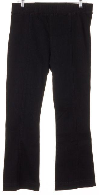 HELMUT LANG Black Raven Slim Denim Pull On Crop Flare Pants Jeans