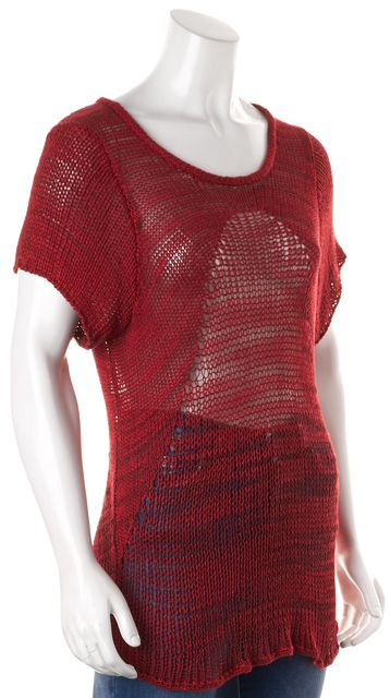 HELMUT LANG Red Black Short Sleeve Marled Sheer Open Knit Long Top