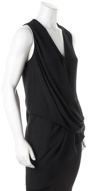 HELMUT LANG Black Draped Asymmetric Hem Sleeveless Blouse Top