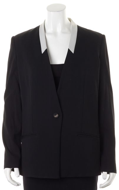 HELMUT LANG Black Gray One Button Collarless Blazer