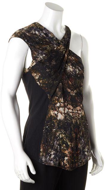 HELMUT LANG Black Brown Abstract Print Silk Sleeveless One Shoulder Blouse