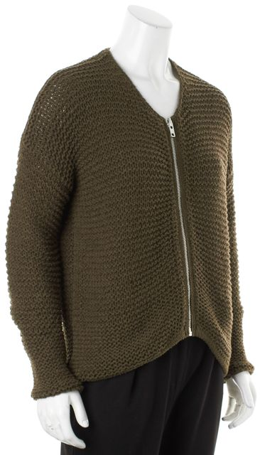HELMUT LANG Olive Green Textured Full Zip Sweater