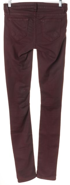 HELMUT LANG Burgundy Red Mid-Rise Skinny Jeans